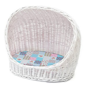 Premium Cat Basket With Blue Cushion