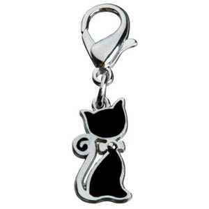 Pendant Cat With Bow Black