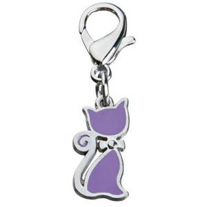 Katzenanhänger mit Schleife violett