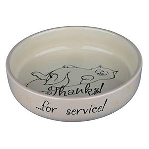 Flat Keramik Bowl Thanks ...for service! - Beige