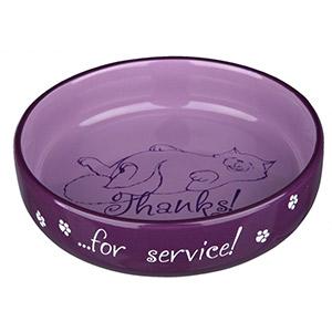 Flacher Keramiknapf Thanks ...for service! - Lila