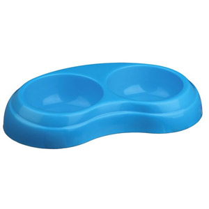 Plastic Double Bowl - Light Blue